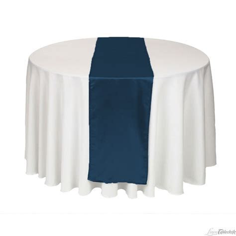 Buy 14 x 108 inch navy blue satin table runner for your