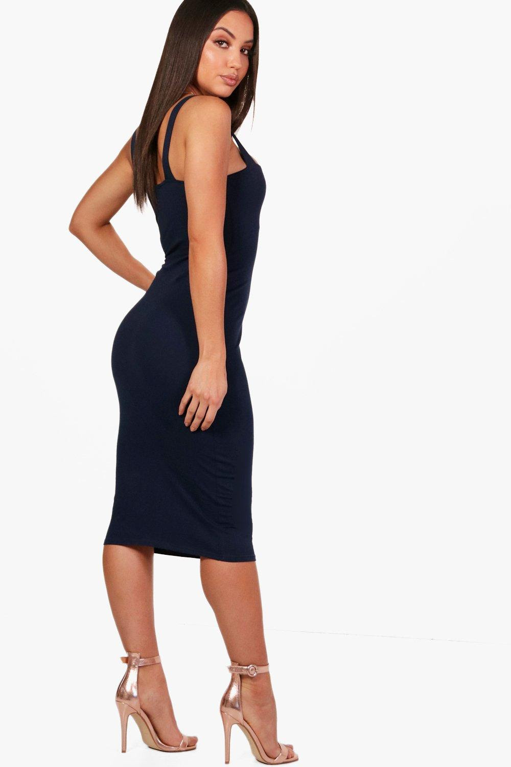 Bodycon neck back dress open square boohoo