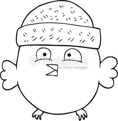 Black And White Cartoon Owl Wearing Hat Vector Art Thinkstock