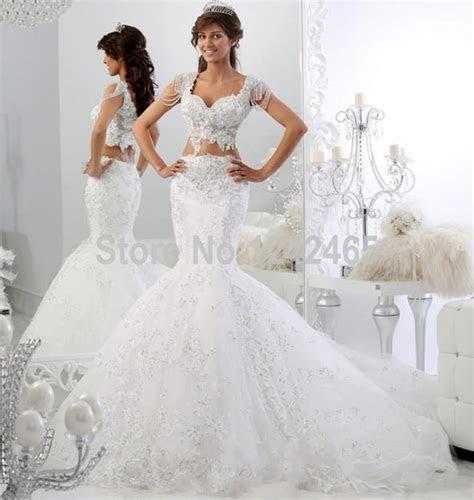 Sexy Cap Sleeve Robe De Mariage Bridal Dress Mermaid V