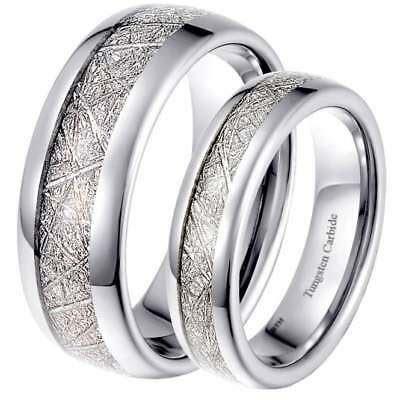 His & Hers Matching 6mm/8mm Meteorite Inlay Wedding