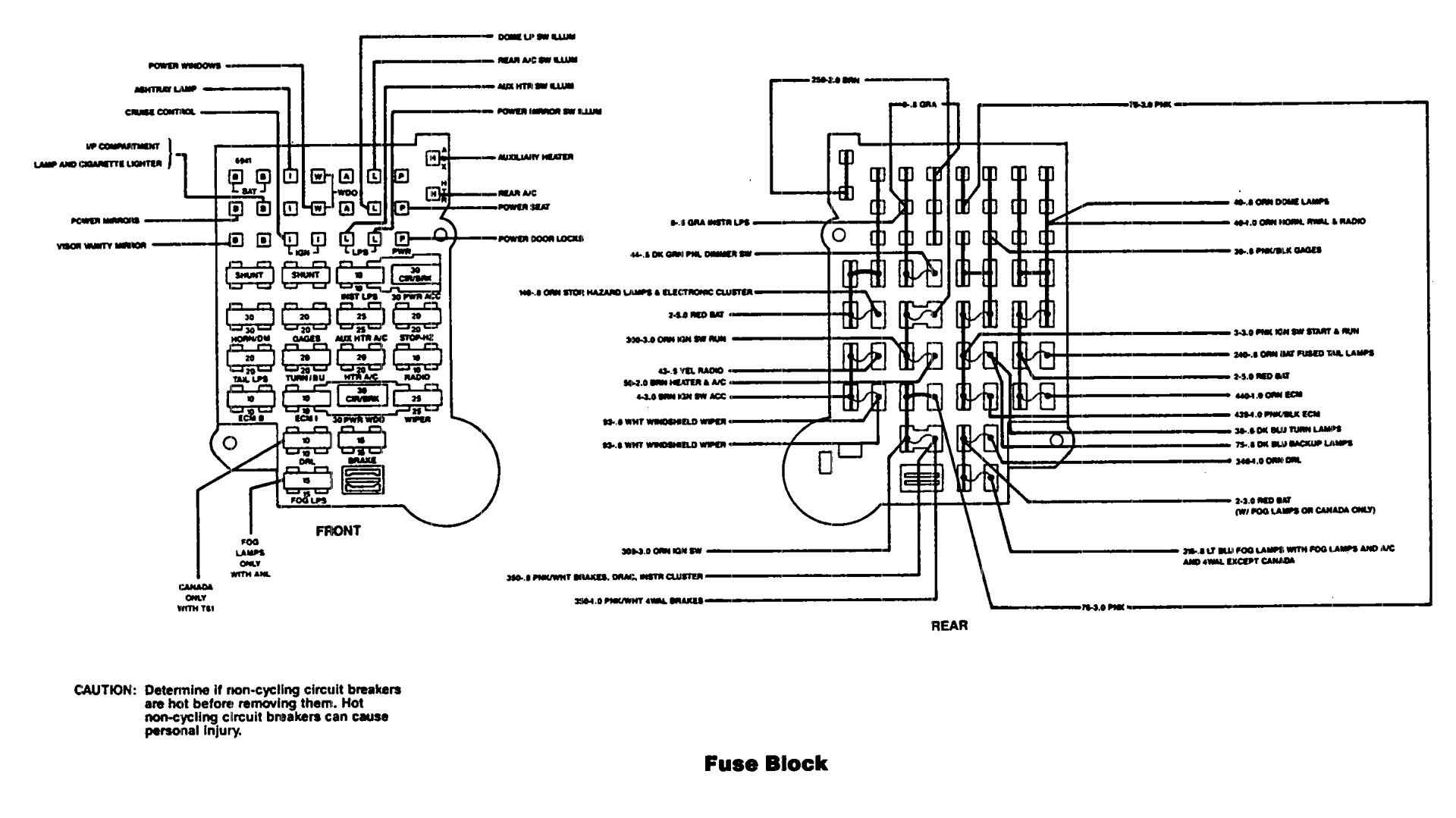 chevrolet fuse box diagram 1990