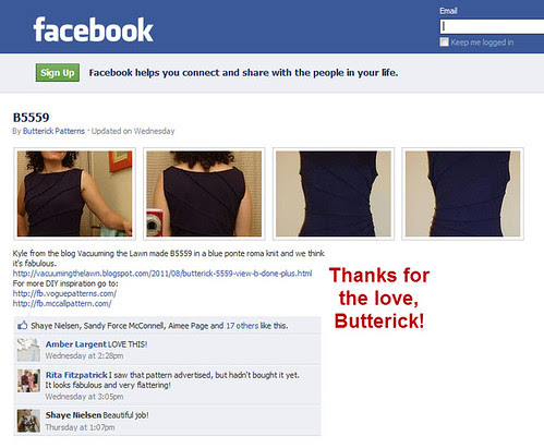 Thanks for the love, Butterick!