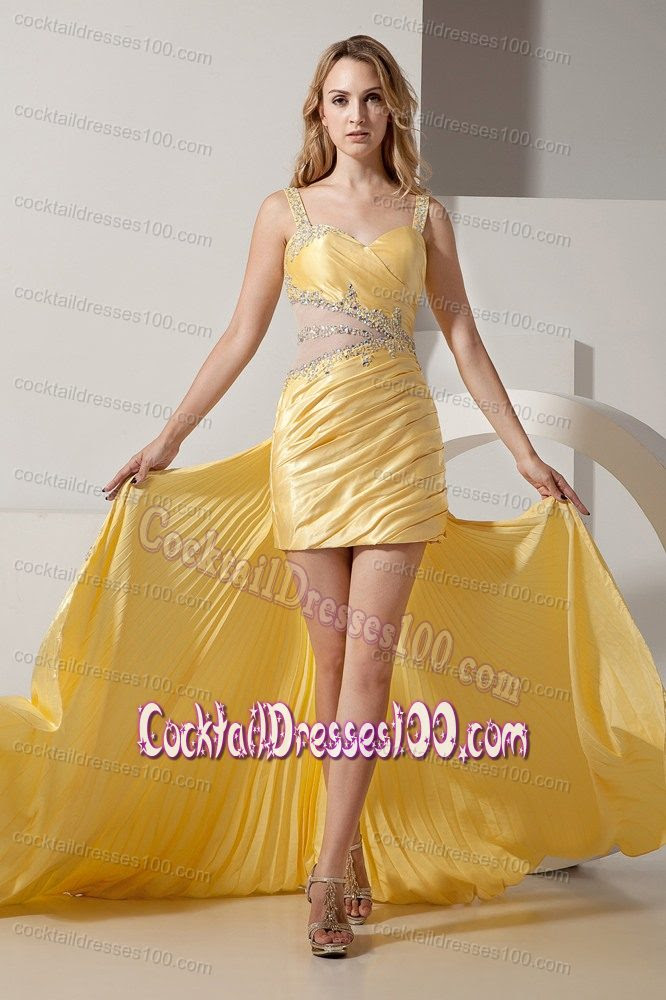 Evening dresses yellow color