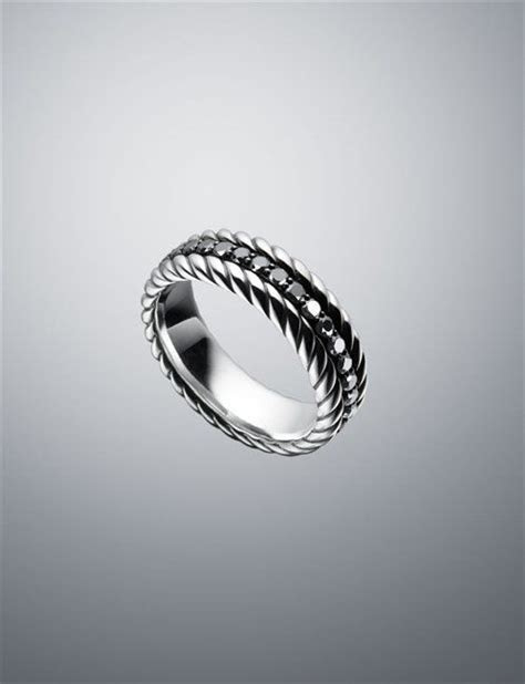 David Yurman   Men   Rings: Black Diamond Band Ring, 7.8mm