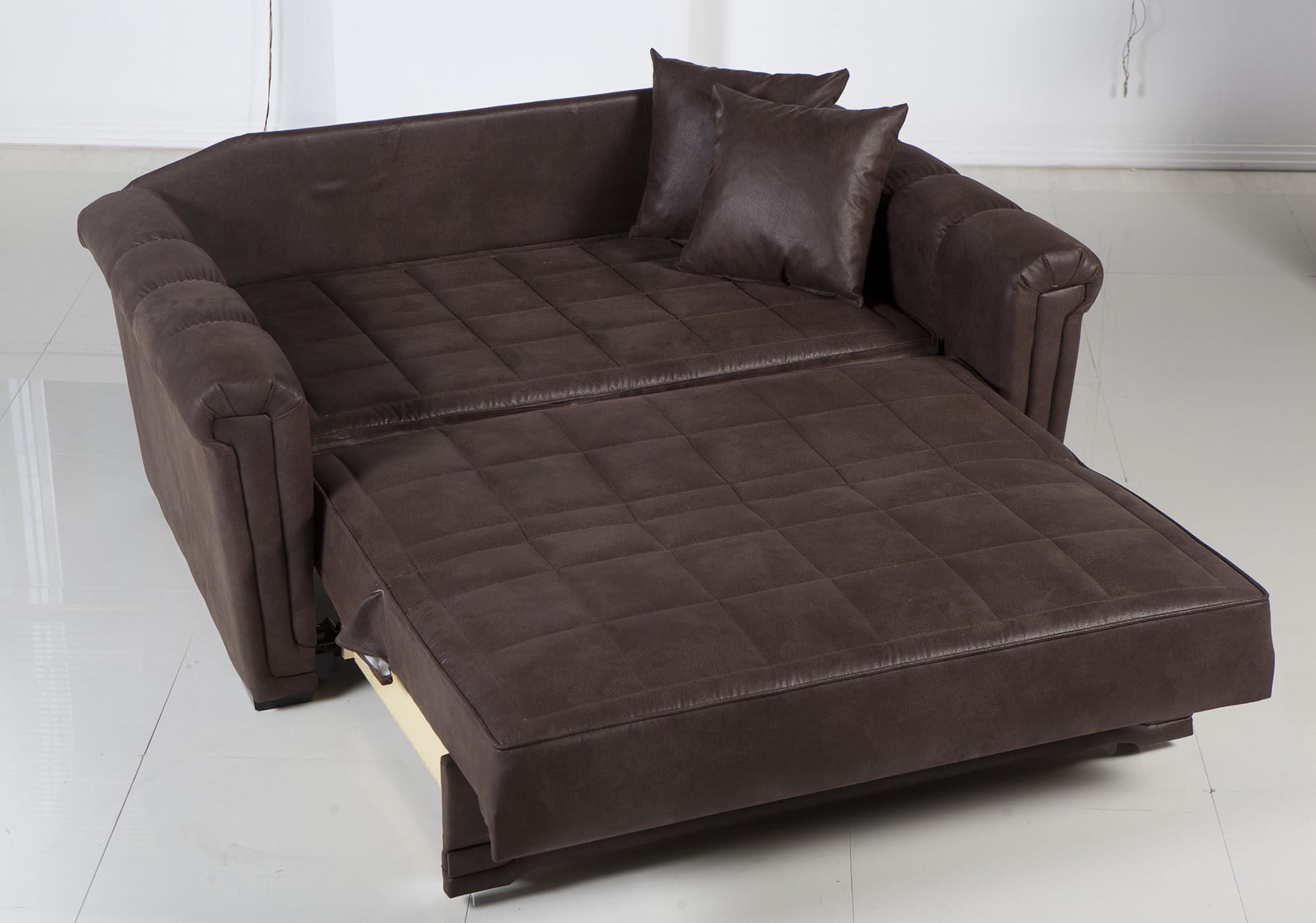 Dark leather loveseat sleeper idea with a pair of leather pillows