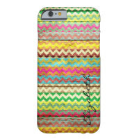 Wood Colorful Chevron Stripes Monogram  Barely There iPhone 6 Case