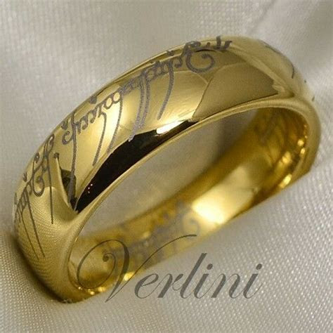 Gold Tungsten Lord Ring Wedding Band Elvish LOTR The Rings