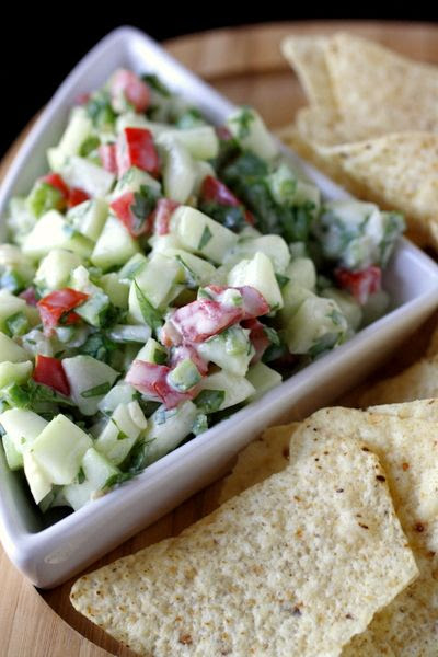 Crisp Cucumber Salsa// use low carb chips or put on fish or just eat like a salad still love the sour cream addition.
