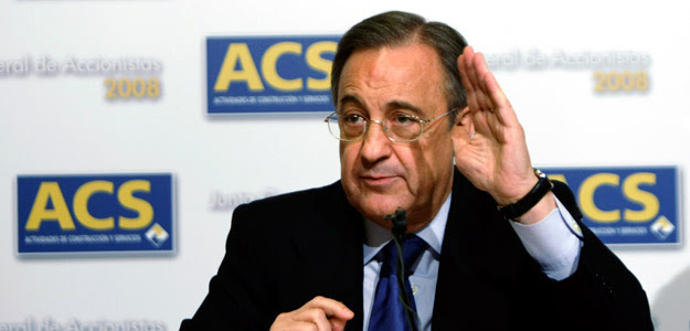 Perez, chairman of ACS, gestures during a news conference after company's annual shareholders meeting in Madrid