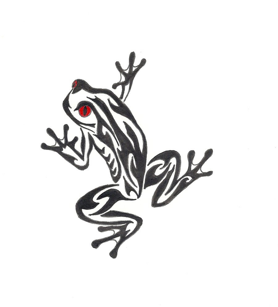 Black Tribal Frog With Red Eye Tattoo Design