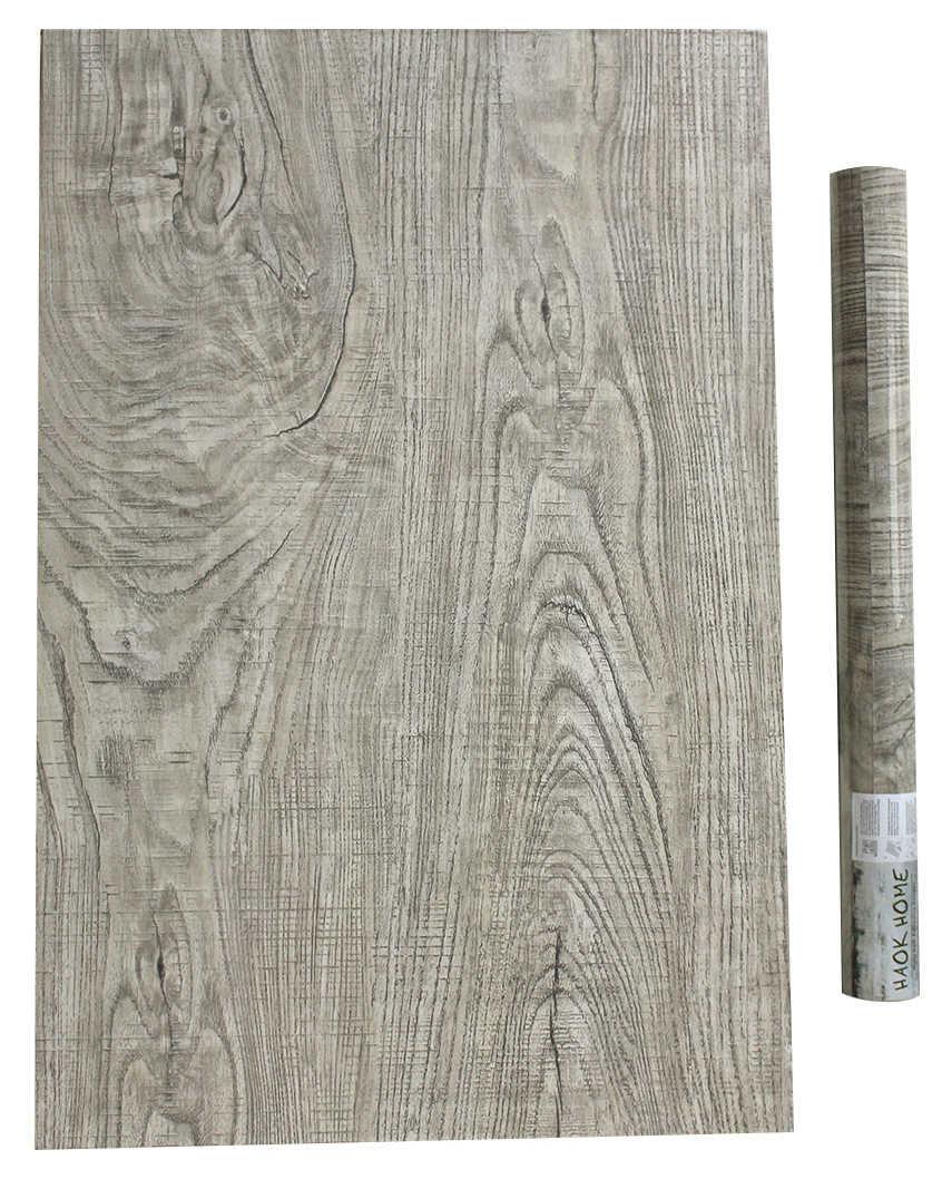 Haokhome ヴィンテージフェイク木の壁紙自己粘着 Lt Brown 木製の厚板