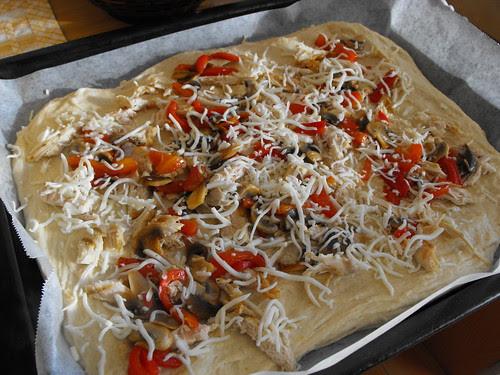 Paozão de frango, pimentos e cogumelos - recheio