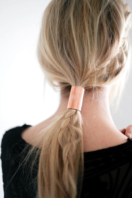Le Fashion Blog Blonde Braided Copper Tube Ponytail Hair Black Top Via Treasure & Travels
