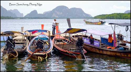 Longtail boats at Baan Samchong, Phang Nga