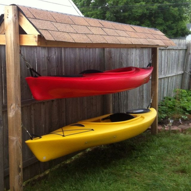 Idea for Kayak storage for west side of the house, incorporate a place