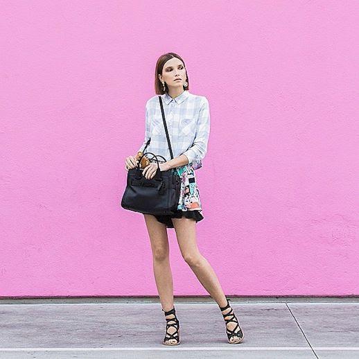 Le Fashion Blog Shoe Crush Tibi Finch Black Sandals Aniab Ania Boniecka Instagram Pink Wall Gingham Shirt Print Skirt photo Le-Fashion-Blog-Shoe-Crush-Tibi-Finch-Black-Sandals-Aniab-Ania-Boniecka-Instagram-Pink-Wall-Gingham-Shirt-Print-Skirt.jpg