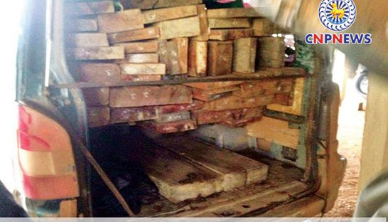 A van full of luxury timber was intercepted by police in Stung Treng province on Sunday. National Police