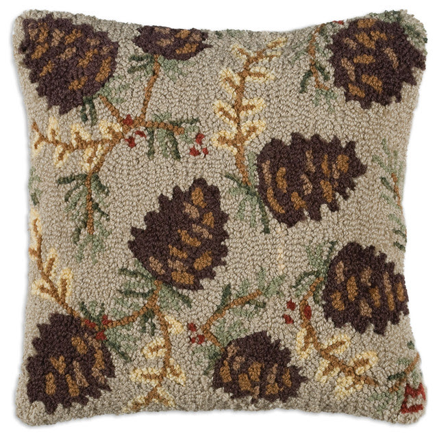 North Woods Cone Hooked Pillow - rustic - holiday decorations - by ...