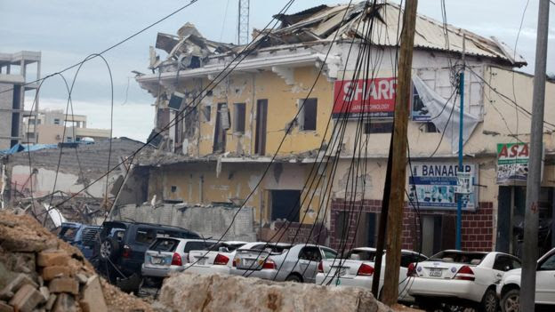 A view of the hotel destroyed after a bomb attack in Mogadishu, Somalia, on 25 June