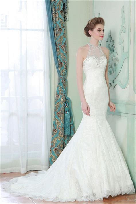 Mermaid High Neck Sheer Back Lace Beaded Wedding Dress