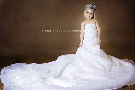 3 year old wearing moms wedding dress in galion ohio