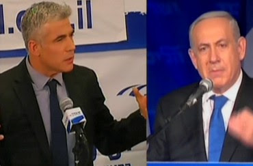 Yesh Atid leader and Prime Minister Binyamin Netanyahu compete for air time, January 23, 2013.
