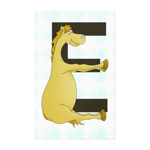 Cute Cartoon Pony Monogram E Gallery Wrap Canvas