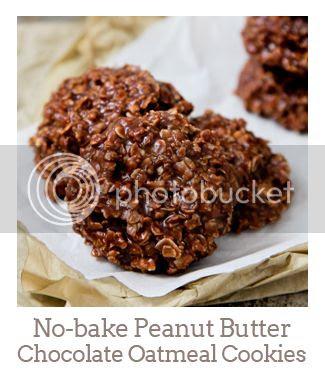"""No-bake Peanut Butter Chocolate Oatmeal Cookies"""
