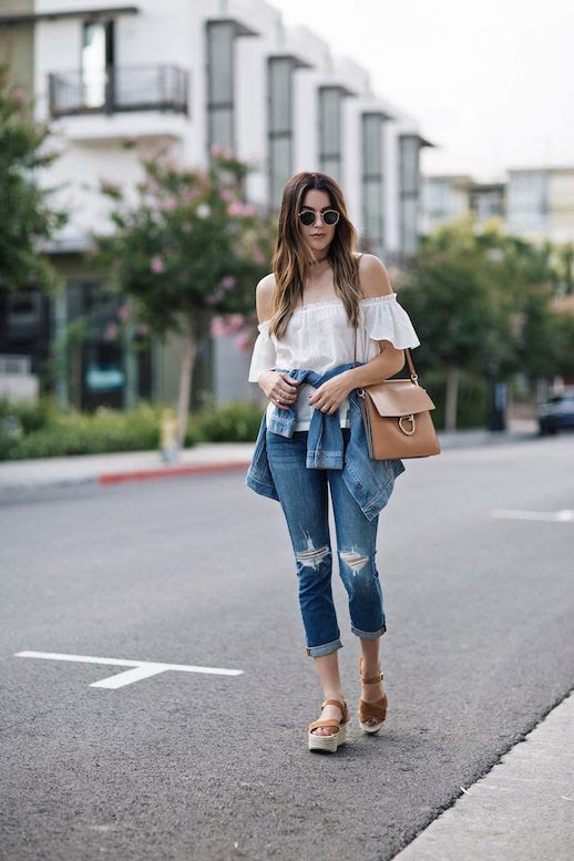 Le Fashion Blog White Off Shoulder Shirt Paige Denim Sandals Chloe Bag Via Thrifts And Threads