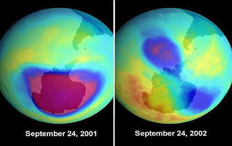 Imagenes del agujero de ozono sobre la Antártida con un año de diferencia. | NASA