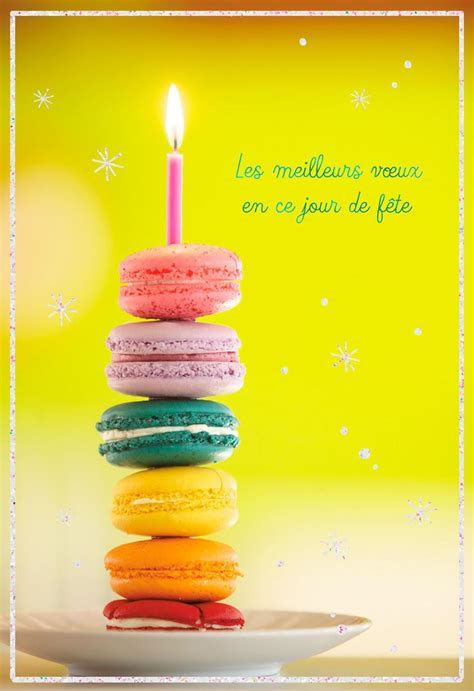 Macarons French Language Birthday Card   Greeting Cards
