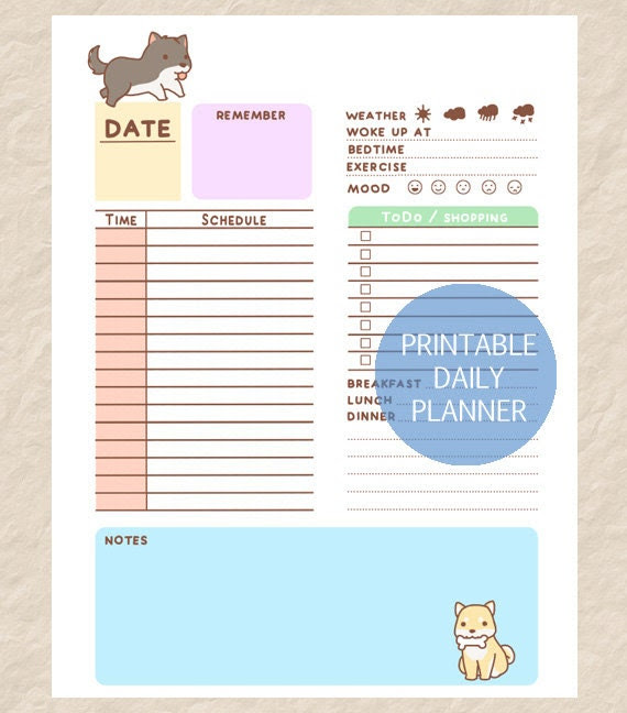 Printable Daily Dog Planner, Cute Dog Theme Day Planner, Puppy ...