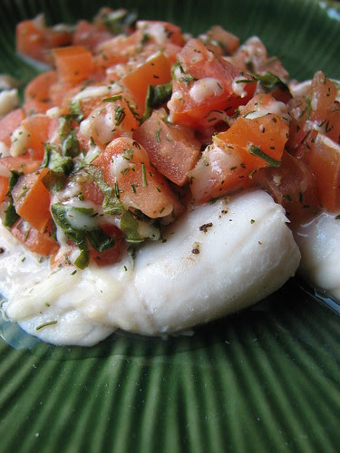 Wine-Poached Tilapia with Fresh Tomatoes and Herbs