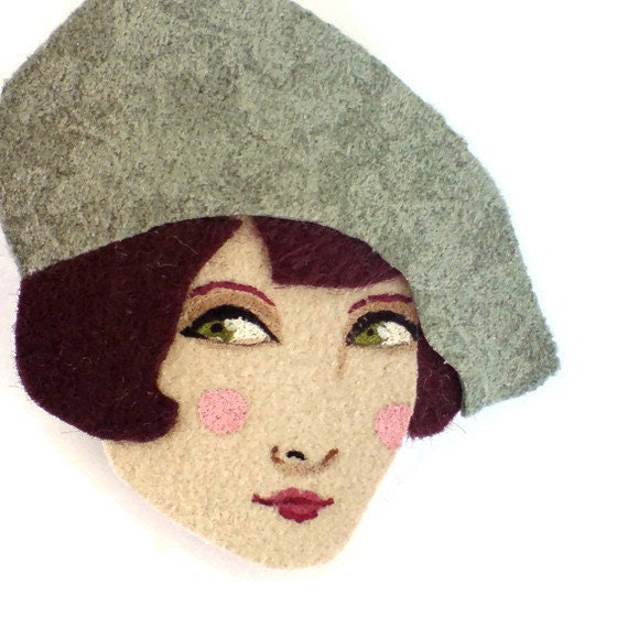 Fabric brooch - Amelie, French girl with a beret, Autumn, conversation piece, mint, brown, woman face