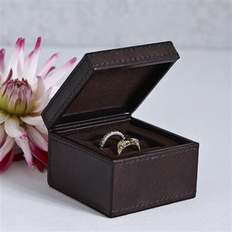 personalised leather ring box by life of riley