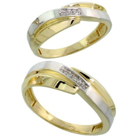 10k Yellow Gold Diamond Wedding Rings Set for him 7 mm and