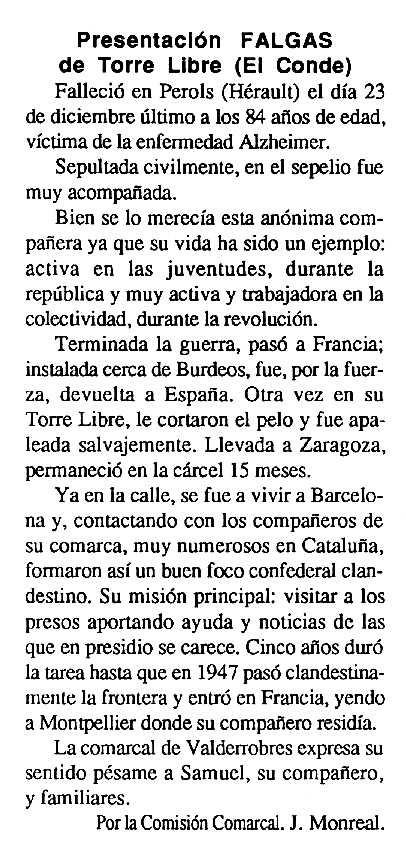 """Necrològica de Presentació Gauchola Puchol apareguda en el periòdic tolosà """"Cenit"""" del 19 de febrer de 1991"""