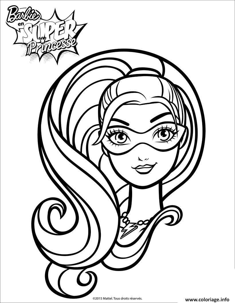 Coloriage Barbie Princesse Portrait De Super Paillette Jecoloriecom