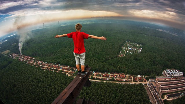 """PHOTO: Marat Dupri, AKA the """"skywalker,"""" has become famous for climbing skyscrapers and heavily guarded buildings in Moscow in search of the best views and biggest thrills."""