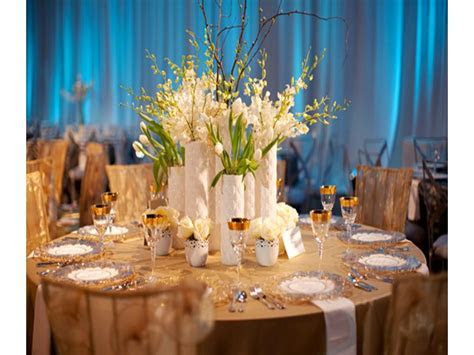 Contemporary blue, white and champagne wedding reception