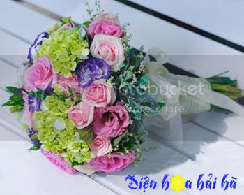 Bó hoa cuoi dep bằng hồng phấn