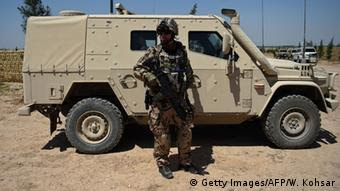 A Bundeswehr soldier on patrol in Afghanistan