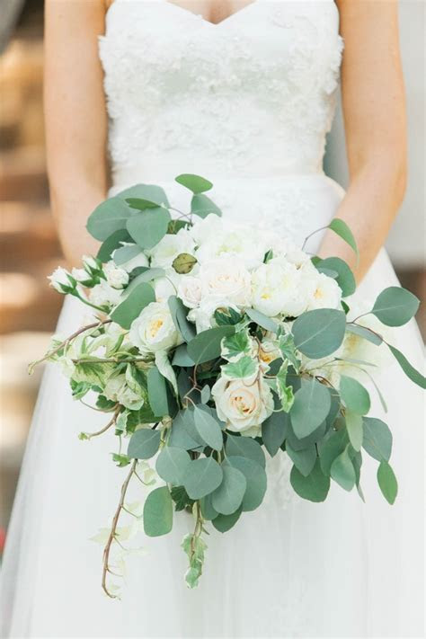 Bouquets Photos   White Rose & Eucalyptus Bridal Bouquet
