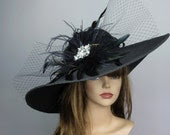 Black Wedding Head Piece Kentucky Derby Hat Fascinator Wedding Accessory Cocktail Hat