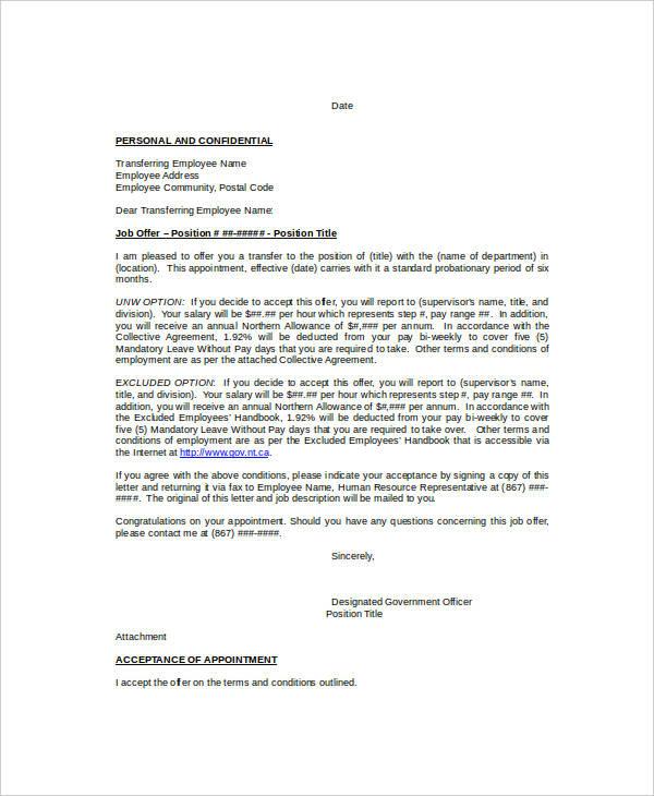 13 Internal Transfer Letters Pdf Doc Free Premium