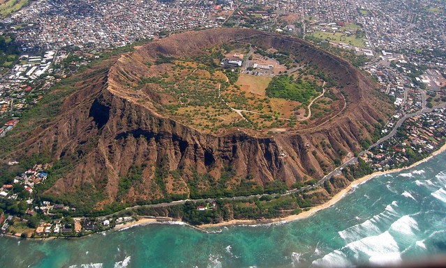 Diamond Head East Aerial View, Waikiki and Honolulu Hawaii, Summer