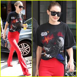 Gigi Hadid Rocks Vintage 'Star Wars' T-Shirt & Red Bell-Bottoms