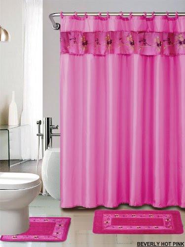4 Piece Luxury Embroidered Bath Rug Set 3 Piece Hot Pink Bathroom ...