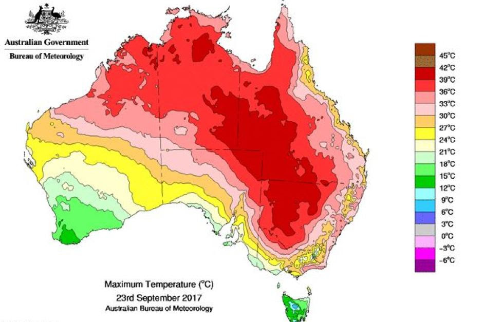 A map of Australia with different colours across it showing maximum temperatures.